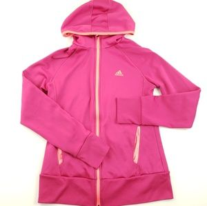 Adidas girls size Medium zip up hoodie pink orange